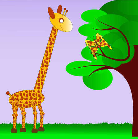 long neck: Giraffe watching at the butterfly on the tree, the wings of a butterfly have the same pattern as the skin of a giraffe Illustration