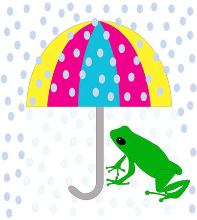 reptile skin: Green frog sitting under colorful umbrella during the rain   Illustration