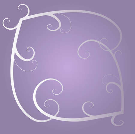 White and grey  decorative ornamental floral swirls on the light violet background Illustration