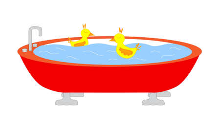 Red tub full of watter with two yellow swimming birds