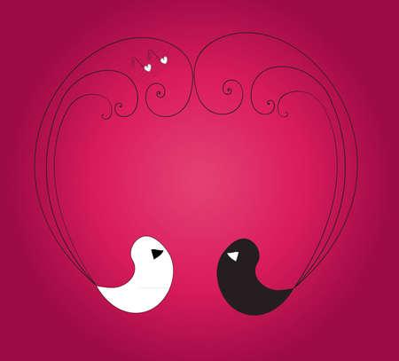 paloma caricatura: Dos p�jaros formando el coraz�n con sus plumas sobre el fondo violeta