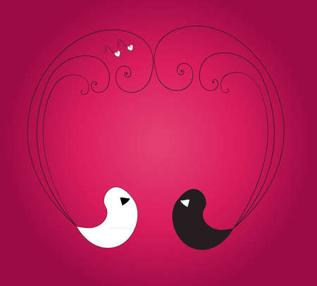 Two birds forming heart with their feathers on the violet background