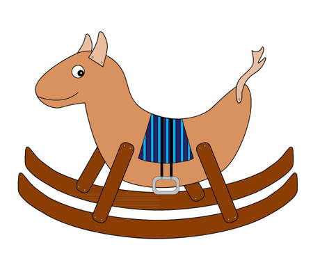 Brown wooden rocking house with blue striped saddle Vector