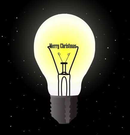 bombillo ahorrador: Bombilla encendida que desean Feliz Navidad Vectores