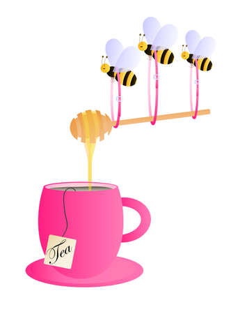 Pink tea cup with flying bees carrying honey droppin from the honey dipper Vector