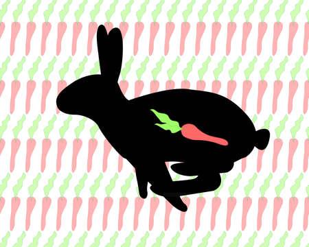 silhouette lapin: Silhouette noire de sauter le lapin sur le fond blanc rempli de carottes