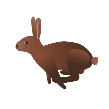 rabbit ears: Profile of a jumping rabbit Illustration
