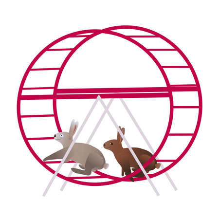 Grey and brown rabbits in the violet running wheel for hamsters