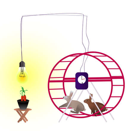 lighten: Rabbits running in the wheel and creating energy for electric system, that lighten the bulb above the pot with growing carrots
