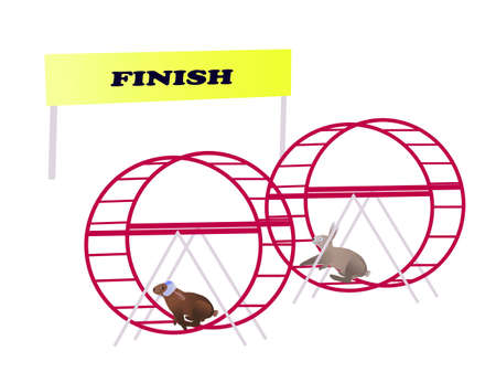 Two rabbits in a running wheels trying to reach finish line Stock Vector - 10881721