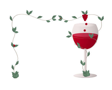 Transparent wine glass with a stalk of wine grapes whipping around the glass full of red wine - perpetuum mobile that supply the glass forever, forming frame Illustration