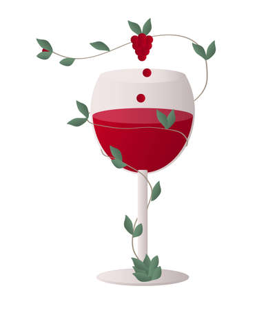 red wine pouring: Transparent wine glass with a stalk of wine grapes whipping around the glass full of red wine - perpetuum mobile that supply the glass forever Illustration