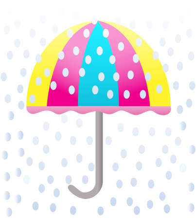 Colorful traditional umbrella during the rain  on the white background Vector