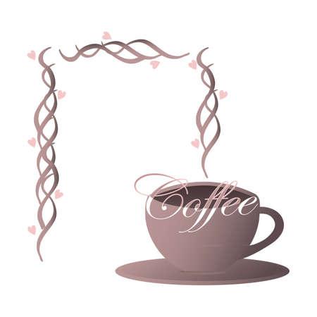cappucino: Violet kopje koffie met stoom opstijgen van de hete koffie en de vorming van een lege naamkaart, etiket, sticker Stock Illustratie