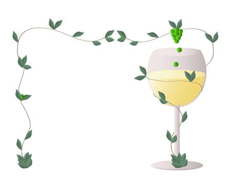Transparent wine glass with a stalk of wine grapes whipping around the glass full ofwhite wine - perpetuum mobile that supply the glass forever, forming a  blank space for name card, label, sticker Illustration