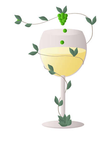 Transparent wine glass with a stalk of wine grapes whipping around the glass full of red wine - perpetuum mobile that supply the glass forever Vector