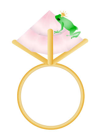 Frog sitting on the ring Vector