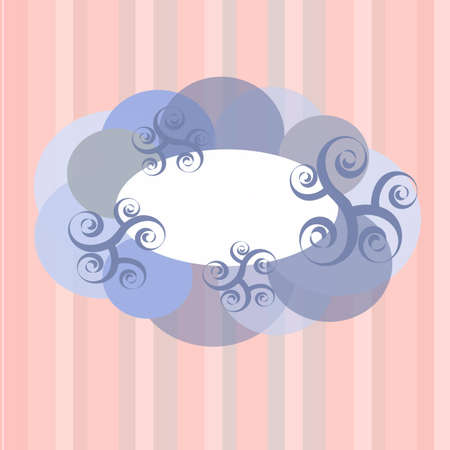 Frame clouds and swirls on the pink background with stripes Illustration