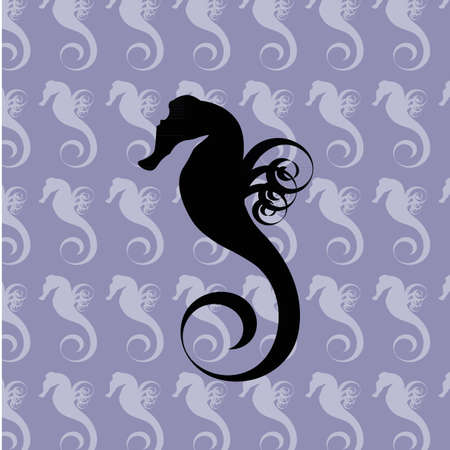 Black silhouette of a sea horse on the blue seamless background filled with light sea horses Vector