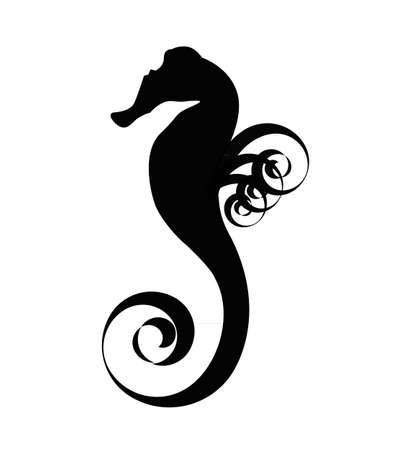 caballo de mar: Mar del caballo negro de la silueta aislados sobre el fondo blanco