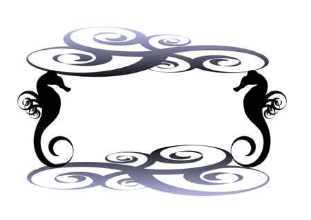 Sea horse frame Illustration