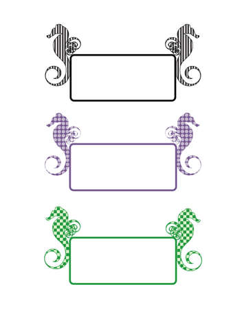 Sea horse three frames Vector