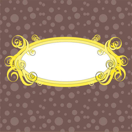 Swirls frame orange on the brown background Illustration