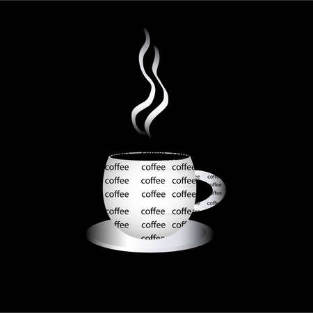 Coffee cup filled with words on the black background