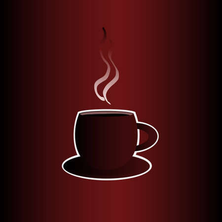 Coffee cup with a frame on the dark red background
