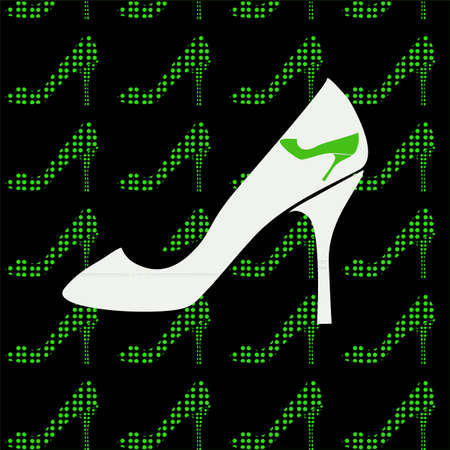Black background with green shoes Illustration