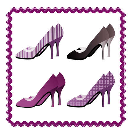 Four pairs of shoes framed by violate lace Vector