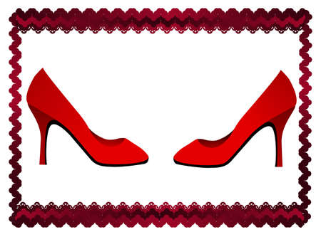 Lace frame with two red shoes
