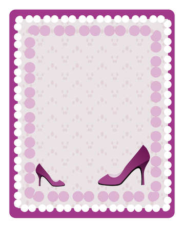Violet background with violet shoes and dots Vector