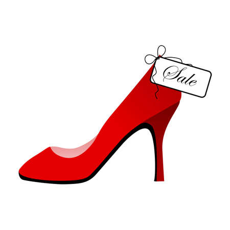 boutique display: Red shoe for sale Illustration