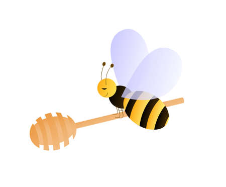 Bee sitting on the honey dipper