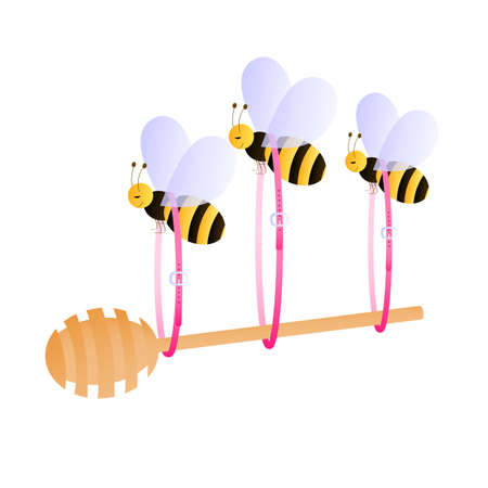 sting: Bees carrying honey dipper