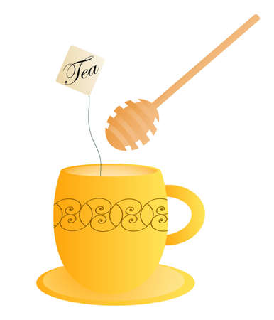 Orange tea cup with a honey dipper