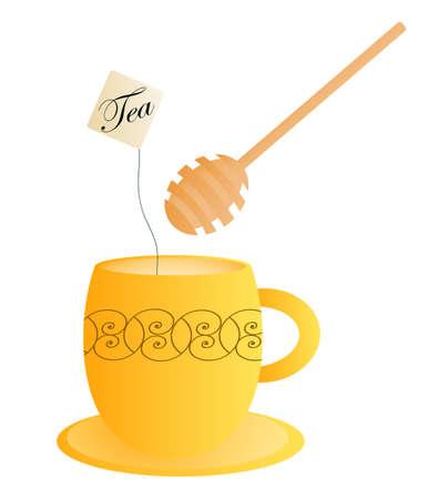 honey dipper: Orange tea cup with a honey dipper