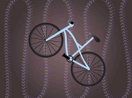 Bike on the dark violet background with traces Vector