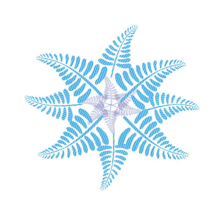 Blue flower formed by fern leaves, isolated on the white background Illustration