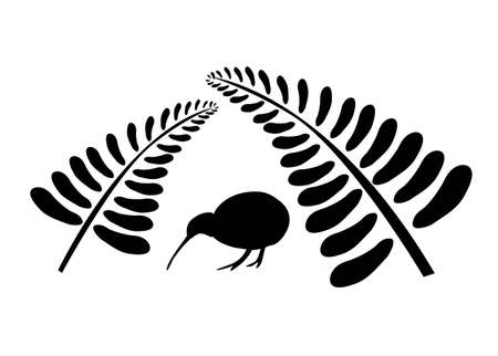 Small silhouette of a kiwi bird staying under two black ferns