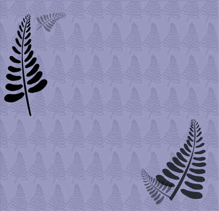 Light blue fern background with two big black leaves in the front  Vector
