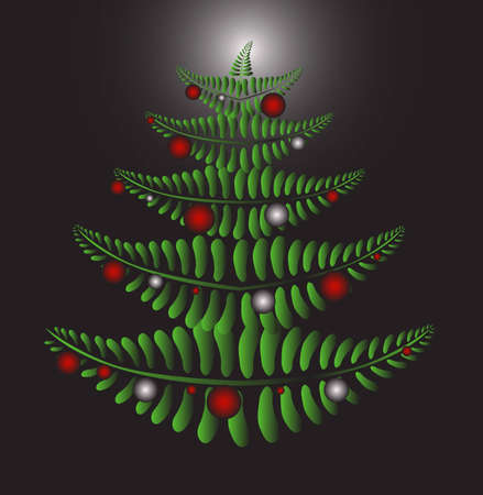 Green Christmas tree formed by fern leaves on the black background with red and silver Christmas balls
