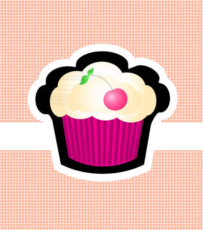 Pink cherry muffin cupcake on the light pink background with dots