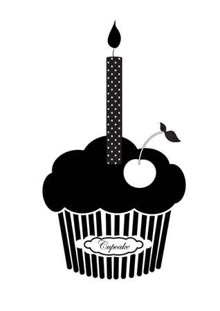 buttercream: Black silhouette of isolated muffin cupcake with a candle on the top and fresh cherry on the white background