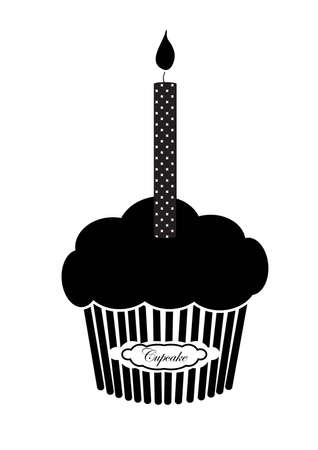 Black silhouette of isolated muffin cupcake with a candle on the top on the white background