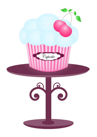 dessert stand: Pink cherry muffin cupcake muffin with light blue icing on the decorative purple display stand, isolated on the white background