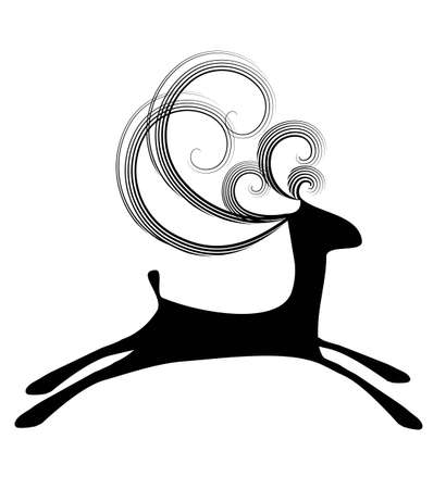 Isolated illustration of simple jumping black deer with curly horns on the white background