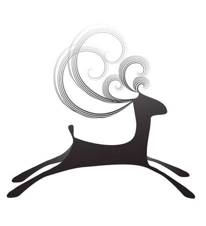 caribou: Isolated illustration of simple jumping black deer with curly horns on the white background