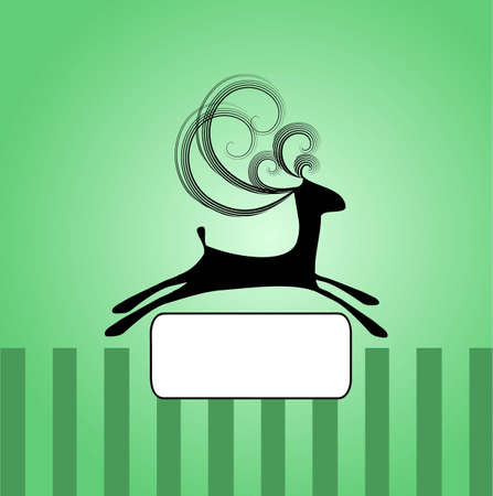 Illustration of black jumping deer with curly horns on the green background with stripes and label in the middle